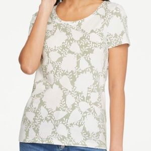 Ann Taylor floral striped scoop neck tee